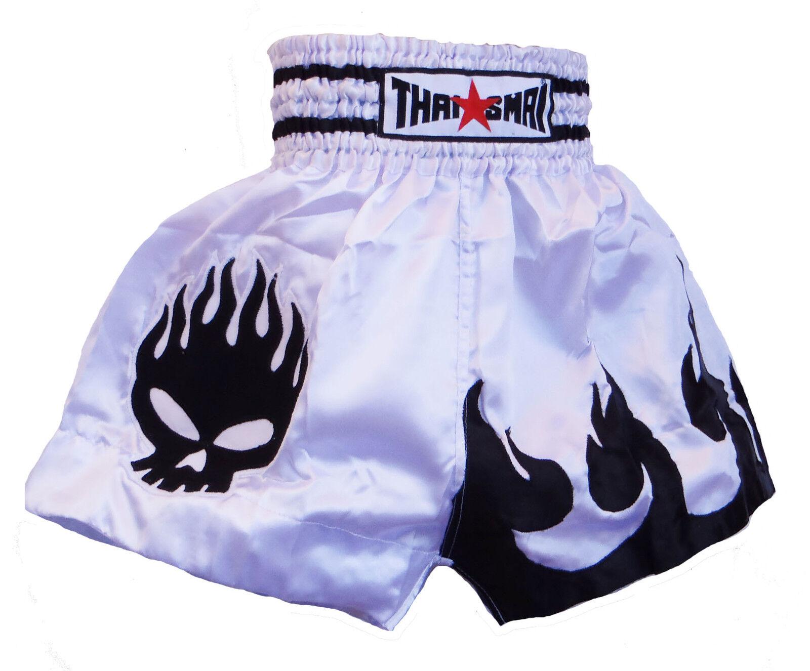 Pantaloncini Da scatolae Taileese   Muay THAISMAI raso bianco tutte le taglie