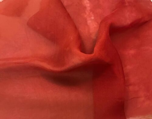 """Silk ORGANZA Fabric Hand Dyed CORAL 45/"""" By The Yard"""