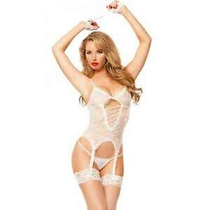 REDUCED FREE STOCKINGS Soft White Basque Suspenders G String Size ...