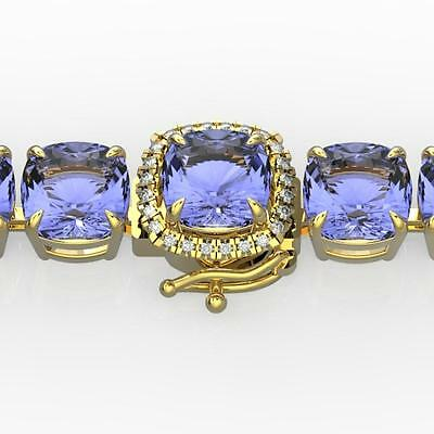 5011. 40 CTW Tanzanite & VS/SI Diamond Bracelet 14K Gold - 23326-REF-548V2F Lot 5011