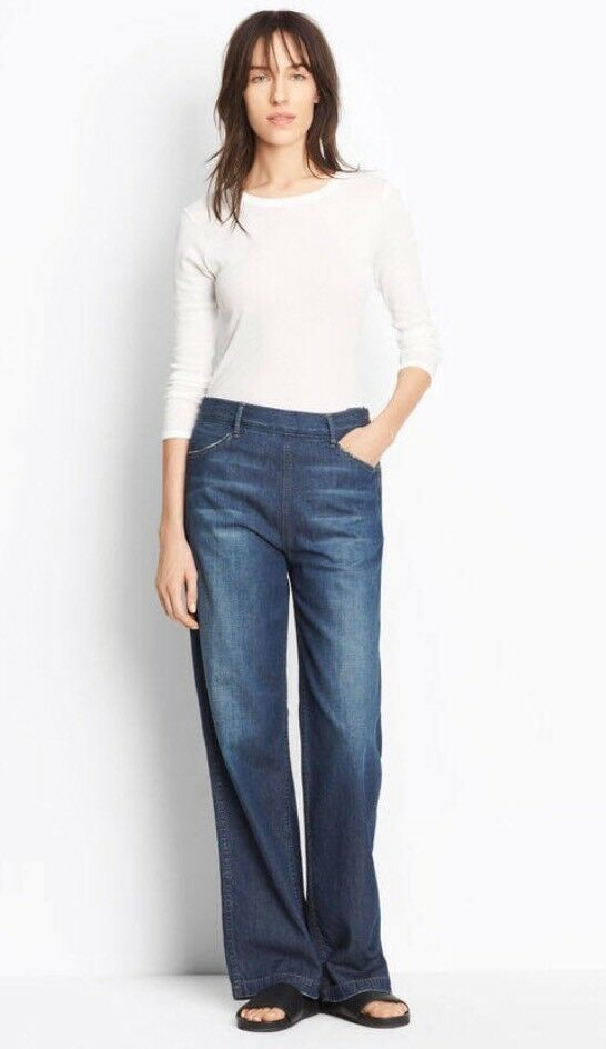 NWT  VINCE High Rise Side Zip Denim Jeans Relaxed Wide Leg Mid Tint Wash 25