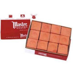 Master-RUST-ORANGE-Pool-Billiard-Cue-Stick-Chalk-Doz-Box-12-Pack-1-Dozen-12-ct