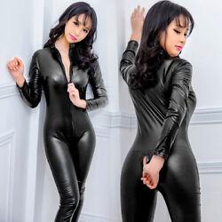 Wetlook Damen Kunstleder Bodysuit Zipper Schritt offen Catsuit Overall Dessous