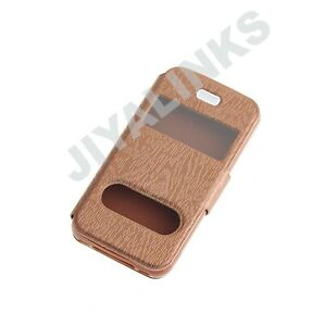 Brown-Double-window-flip-standing-case-for-Apple-iPhone-4-4S-TPU