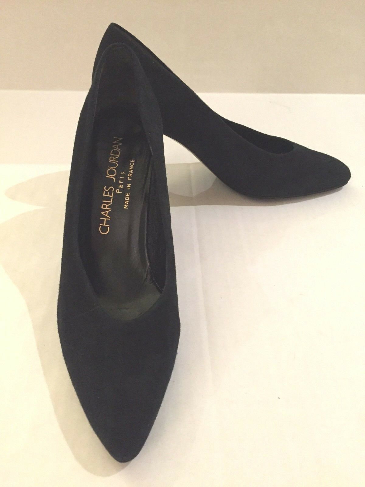 Charles Jourdan Paris donna Sz 6 1 2 M nero Suede Heels Made In France EUC