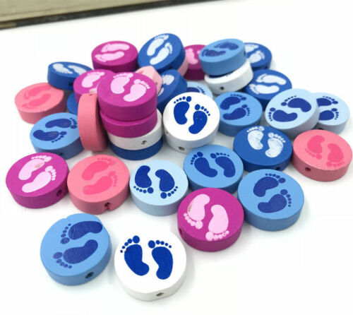 40pcs Round Loose Bead Foot footprint For  jewelry making Spacer Wood Beads 20mm