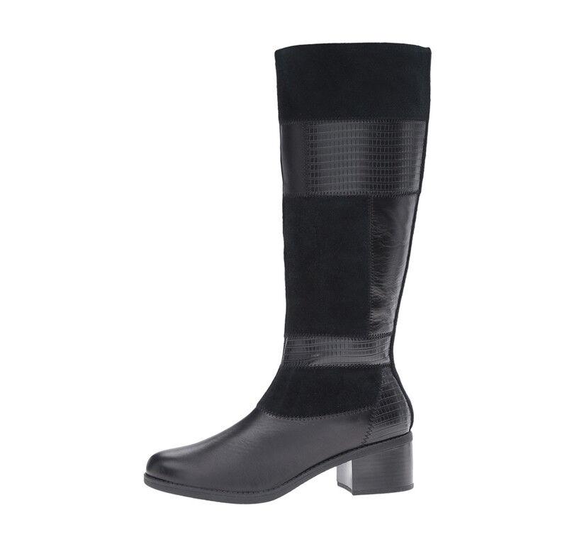 New Clarks NEVELLA NOVA Leather Women Boots blk