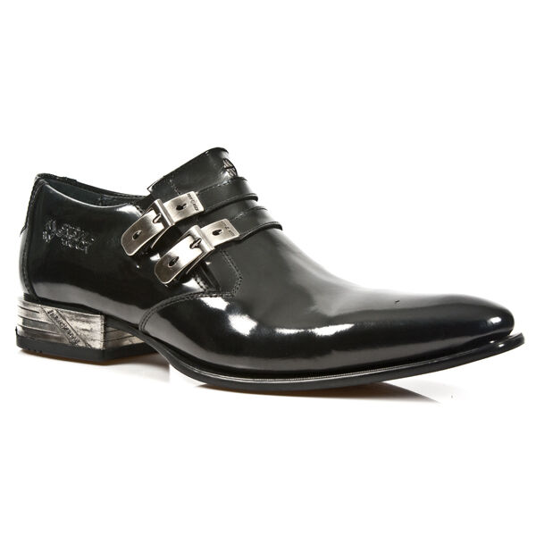 NEWROCK M.2246 S5 Black EXCLUSIVE New Rock Punk Gothic Shiny Leather Boots Mens