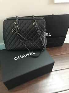 722e8ca59536 Chanel City Shopper Tote Bag Black Caviar Leather Authentic Lightly ...