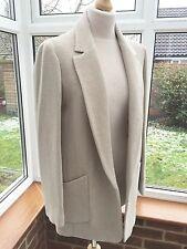 Zara Light Camel / Oatmeal Wool Blend Long Blazer Jacket Size M UK 10 BNWT