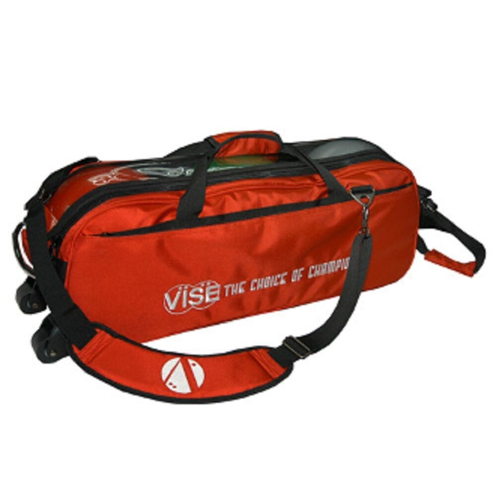 Vise 3 Ball Tote Bowling Bag with tow wheels color Red
