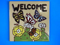 Ceramic Art Tile 6x6 Cactus Prickly Pear Opuntia Welcome Sign Butterfly I74