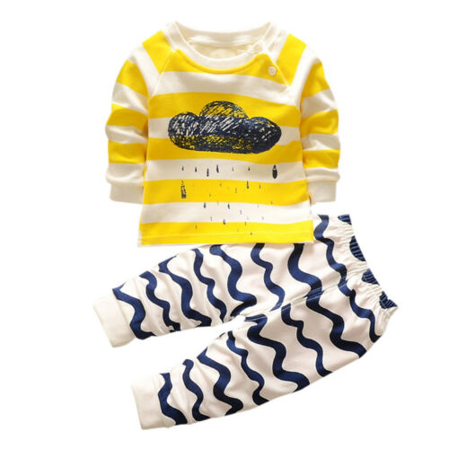 Baby Boy Girls Kids Toddler Long Sleeve T Shirt Tops+Pants Clothes Outfit Set fb