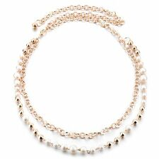 Women's Ladies Girls Gold Pearls Belt Diamante Chain Waist Bridal Wedding 751