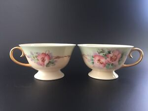 Set-of-2-Hand-Painted-Pink-Camellias-w-Branches-Porcelain-Tea-Cups-Gold-Gilt