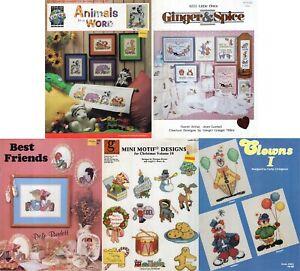 Lot of 5 Childrens Cross Stitch Designs Animals Christmas Clowns Cats Bunnies