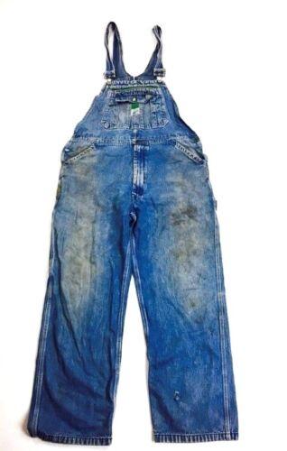 Vintage Overalls Denim Workwear 1970s Distressed F