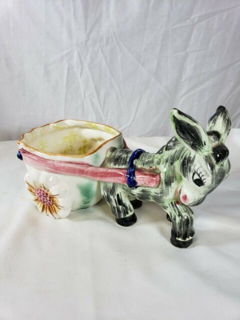 Vintage Ceramic Donkey and Cart Planter