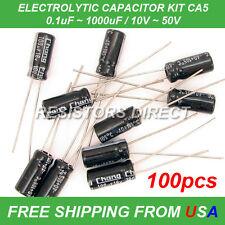 100pcs 10 Value Electrolytic Capacitor Kit Assortment 011000uf 1050v Ca5