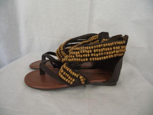 BNWT Older Girls Sz 3 Rivers Doghouse Brand Dark Brown Beaded Sandals