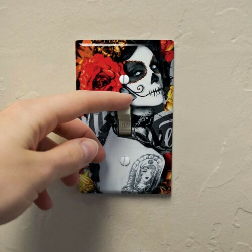 Dia de los Muertos Day of the Dead Woman Tattoo Wall Light Switch Plate Cover