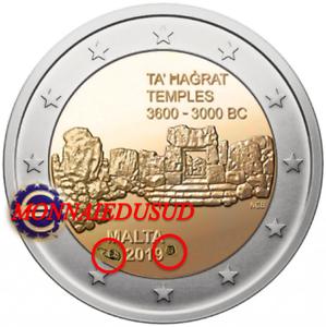 2-Euro-Commemorative-Malte-2019-BU-Temple-Ta-039-Hagrat-avec-Poincon-Cornucopia