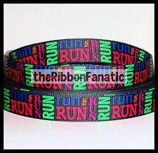 "3 yds 7/8"" Run Collage Brights Running Runner Grosgrain Ribbon Fitness Marathon"