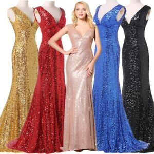 Plus-Sequins-Women-Party-Evening-Prom-Dress-Long-V-neck-Bridesmaid-Wedding-Gowns