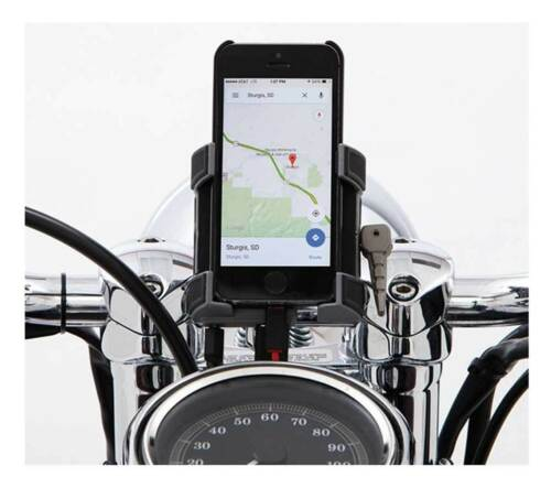 Ciro Premium Smartphone//GPS Holder w// Charger 1-1//4 in Black Bar Mount 50215