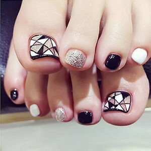 24pcs False Toe Nails French Full Toenails Feet Nails Art ...