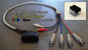 Female-RGB-Euro-SCART-to-4-BNC-Audio-Cable-BUILT-IN-SYNC-STRIPPER-XM29-PVM-BVM