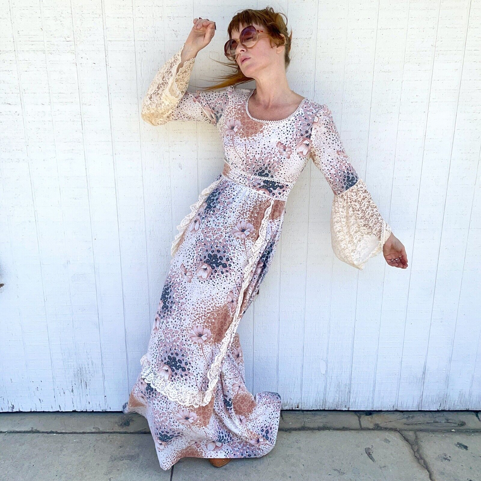 Vintage 70s Floral Maxi Dress Lace Sleeves Fairyc… - image 3