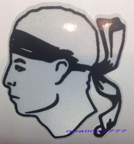 REFLECTIVE SELF-ADHESIVE STICKER MOOR/'S HEAD CORSICAN YAMAHA HONDA SUZUKI KTM