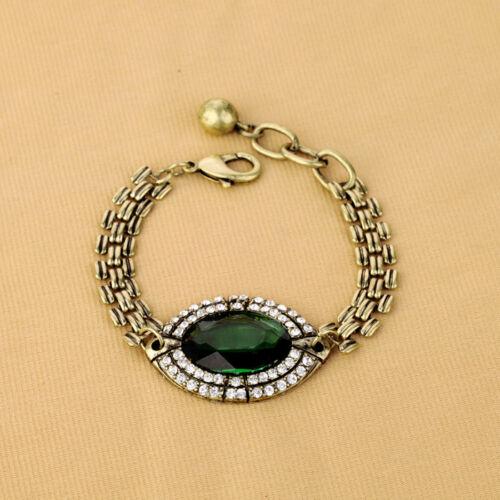 Bracelet Femme Ovale Vert Vintage Ancien Style Original Soirée Mariage CT5