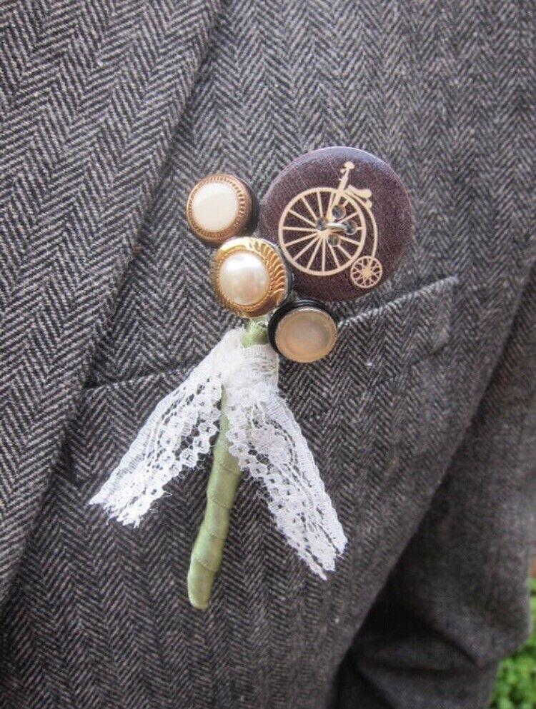 Wedding Buttonhole - Button Buttonhole - Handmade Wedding - Vintage Wedding