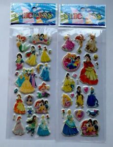 2pcs-lot-Cartoon-PRINCESS-Puffy-Stickers-Sheets-Party