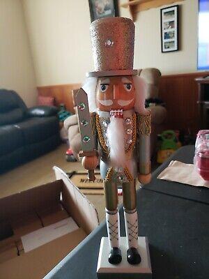 """Glitter Nutcracker Gold Silver Soldier Statue /&Pole 15/"""" Tall Decor Figure Nicole"""