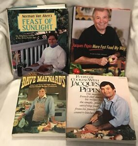 Lot of 4 cookbooks from your favorite chefs! Pépin, van Aken and Maynard!