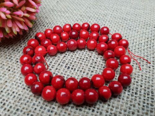 Strang Gemme Perles Mousse Corail Rouge quelque Balle 8 mm