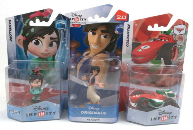 Disney Infinity Figures - Cars Francesco, Wreck-It Ralph Vanellope, Aladdin BNIB