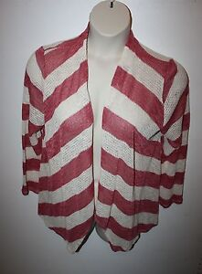 Julia-Long-Sleeve-Open-Knit-Wrap-Red-amp-White-Striped-Open-Front-Size-2X-NWoT-NEW