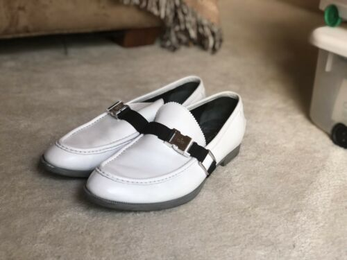 Gucci Men's White Leather Buckle Loafers 10.5US