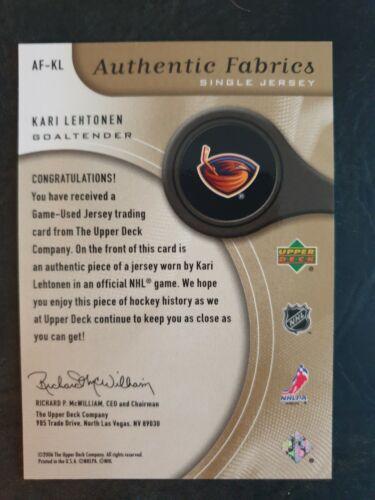 2005-06 sp Game Used authentic fabrics oro #afkl Kari Lehtonen #029//100