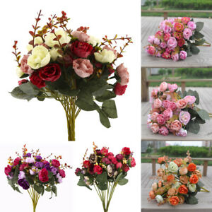 2-Bouquet-42-Head-Artifical-Plastic-Rose-Wedding-Office-Home-Decor-Silk-Flower
