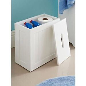 Wooden-White-Crisp-Finish-Small-Toilet-Cleaning-Product-Storage-Tidy-Box-Unit