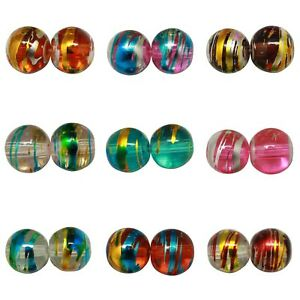 Round-DRIZZLE-Glass-Drawbench-Beads-CHOOSE-COLOUR-amp-SIZE-4mm-6mm-8mm-UK