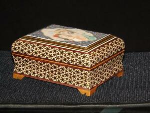 Magnificient-Mother-Of-Pearl-Gold-Inlaid-Wood-Trinket-Box-Painted-Cameo