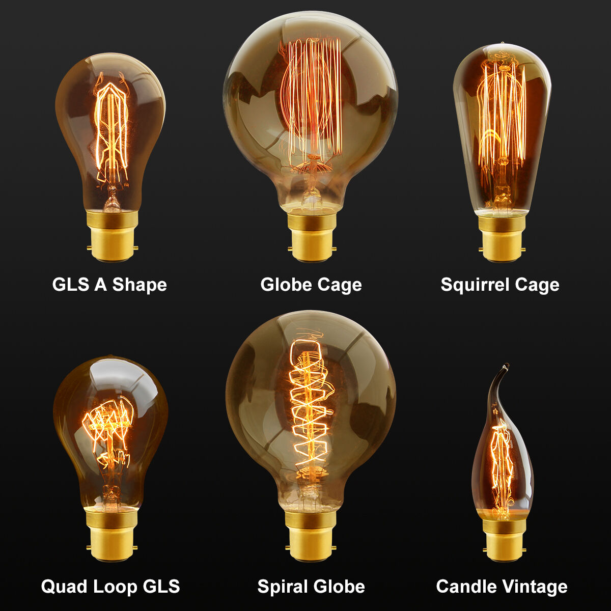 B22 Bayonet Filament Vintage Edison Style Squirrel Cage Lamp Light Bulbs Ebay