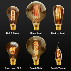 Details About B22 Bayonet Filament Vintage Edison Style Squirrel Cage Lamp Light Bulbs