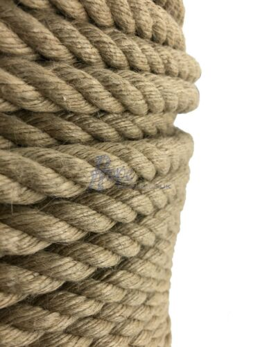 20mm Natural Jute Rope x 220 Metres,Twisted Decking Cord Garden Boating Sash